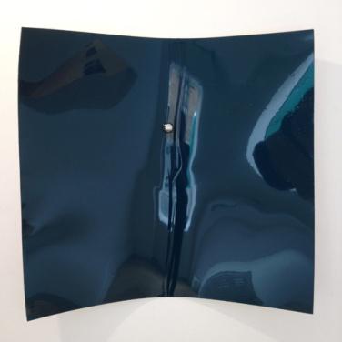 Point d'impact. 2012, lacquer spray on dibond, stainless steel sphere, 97 x 105 cm / Point d'impact. 2012, laque aérosol sur dibond, sphère en acier inoxydable, 97 x 105 cm