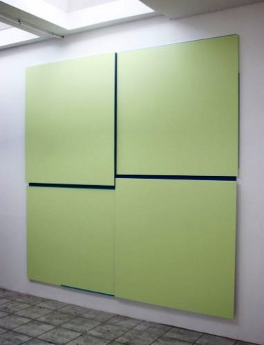 T-02.11 (Plain Talk). 2011, lacquer on MDF and aluminum, 4 parts / T-02.11 (Plain Talk). 2011, lacque sur MDF et aluminium, 4 parties