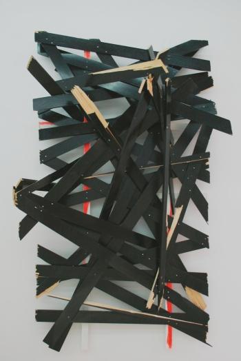 Latest disgrace © Clemens Hollerer Sculpture, 2014, enamel on wood, 250x142x92cm