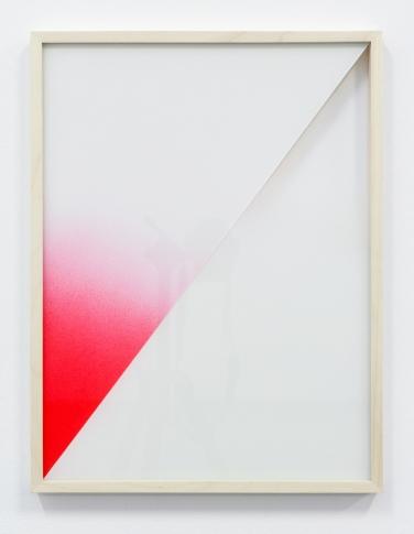 Untitled. 2015, spray paint on glass, wooden frame, 50 x 38 cm /Sans titre. 2015, aérosol sur verre, cadre en bois, 50 x 38 cm
