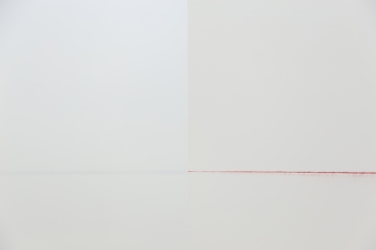 """Untitled (colored lines). 2016, pigments, dimensions variable. View of the exhibition """"Blue, red and ferrari yellow"""", SNAP Projects, Lyon. © Dimitri Mallet / Untitled (colored lines). 2016, pigments, dimensions variables. Vue de l'exposition """"Blue, red and ferrari yellow"""", SNAP Projects, Lyon. © Dimitri Mallet"""