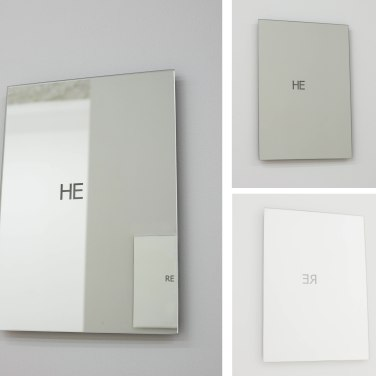 HERE, 2017. Deux miroirs, 21 x 29,7 cm / HERE, 2017. Two mirrors, 21 x 29,7 cm